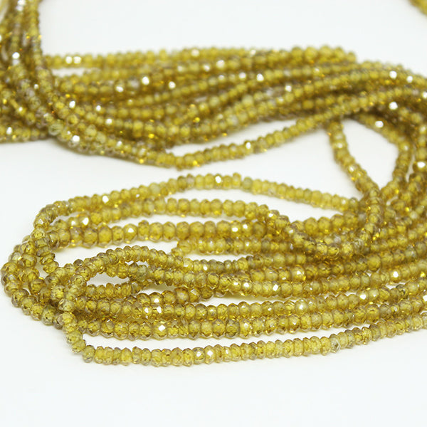 Vessonite Green Zircon Faceted Rondelle Beads, 14 inches, 3mm, SKU10258/S - Jewels Exports