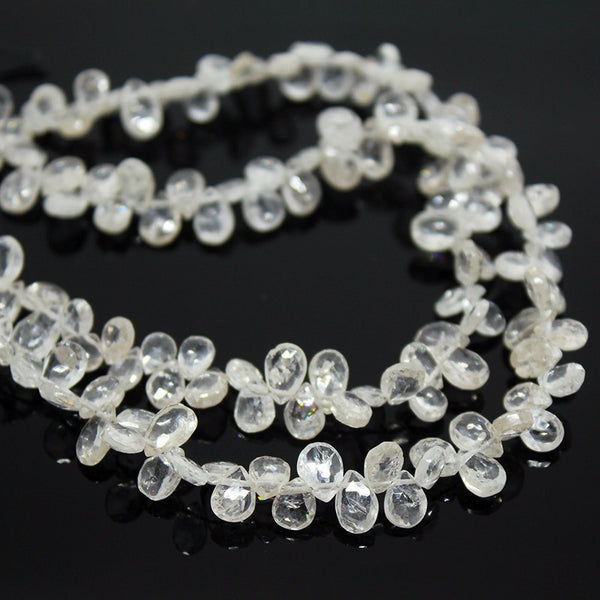 White Zircon Faceted Pear Drops Briolette Beads Strand, 8 Inches, 6mm, SKU10241/S - Jewels Exports