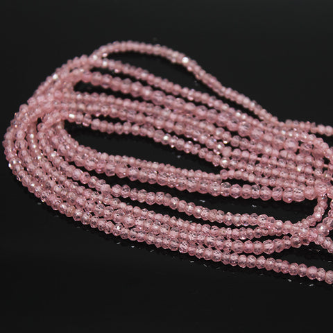 Rose Pink Zircon Faceted Rondelle Beads, 14 inches, 3-4mm, SKU10257/S - Jewels Exports