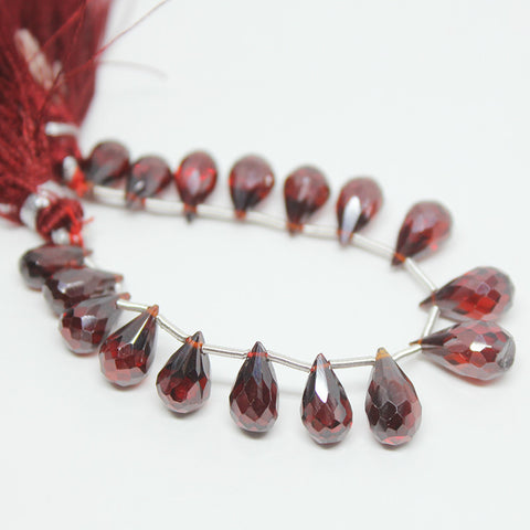 Garnet Zircon Faceted Tear Drop Briolette Beads Strand, 17 beads, 9-12mm, SK10254/S - Jewels Exports