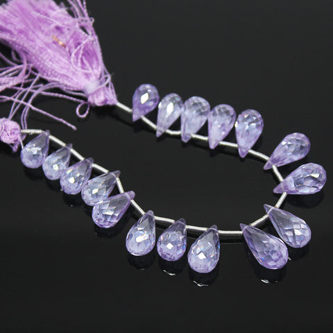Light Pink Amethyst Zircon Faceted Tear Drop Briolette Beads Strand, 17 beads, 9-14mm, SK10255/S - Jewels Exports