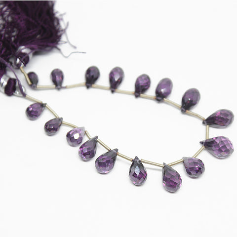 Amethyst Zircon Faceted Tear Drop Briolette Beads Strand, 17 beads, 8-11mm, SK10253/S - Jewels Exports