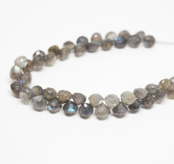 Labradorite Faceted Onion Briolette Beads Strand, 6 inches, 6mm, SKU10292/M - Jewels Exports