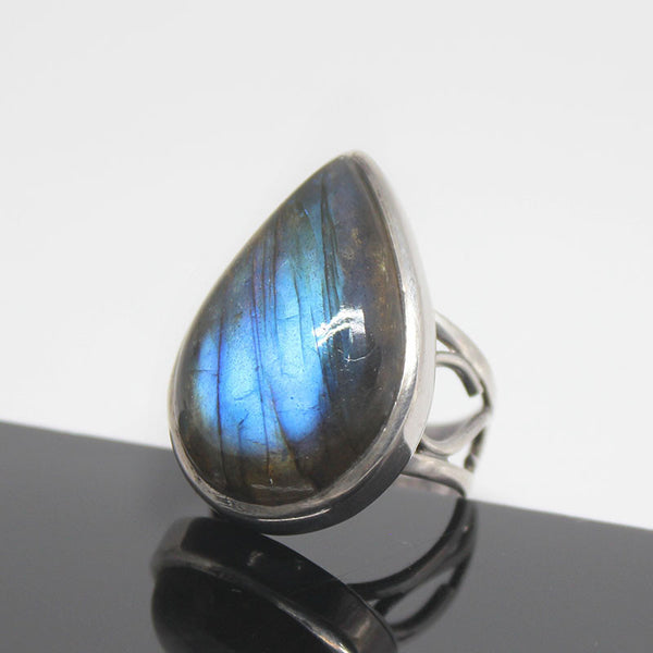 Labradorite Pear Cabochon Sterling Silver Ring 10293RG - Jewels Exports - 1