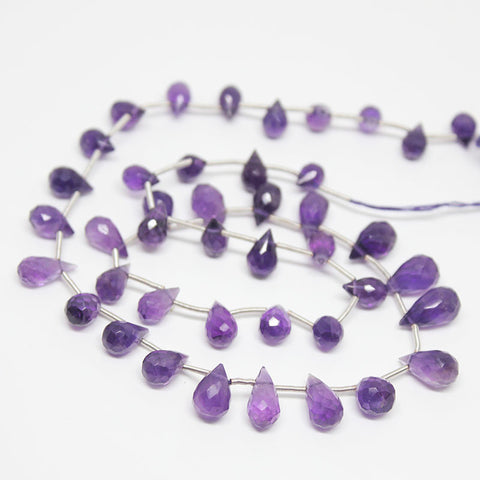 Purple Amethyst Faceted Tear Drops Briolette Beads, 16 inches, 6-12mm, SKU10296/M - Jewels Exports