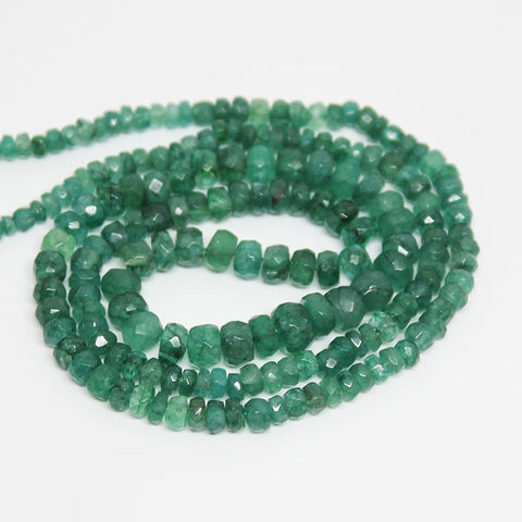 Green Emerald Faceted Roundel Beads, 15 inches, 3-5mm, SKU10302/M - Jewels Exports