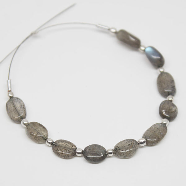 Blue Labradorite Smooth Oval Beads, 10 Beads, 7mm, SKU/E - Jewels Exports