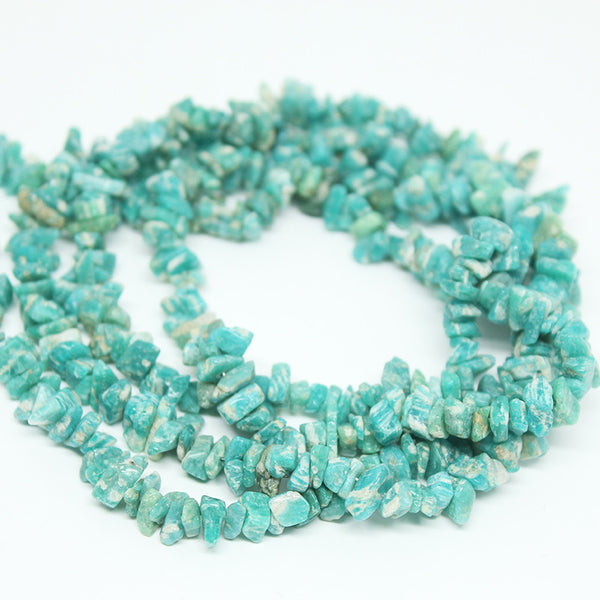 Amazonite Smooth Polished Uneven Chips Beads, 34 inches, 5-9mm, SKU/BBL - Jewels Exports