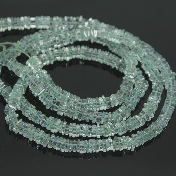 Green Amethyst Smooth Heishi Wheel Beads, 5mm, 15 inches, SKU/BBL - Jewels Exports