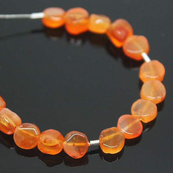 Carnelian Smooth Coin Beads, 6mm, 15 beads, SKU/BBL - Jewels Exports