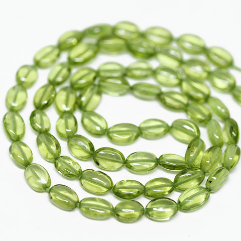 Peridot Smooth Polished Oval Beads Strand, 16 inches, 6-7mm, SKU10317/J - Jewels Exports