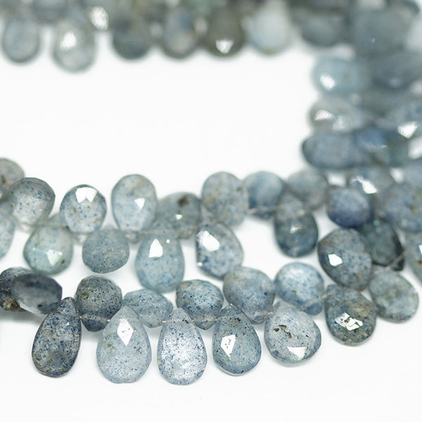 Blue Sunstone Faceted Pear Drop Beads, 4 inches, 8-11mm, SKU10337M - Jewels Exports - 1