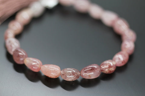 Pink Fruit Quartz Smooth Tumble Beads, 4 inches, 9-10mm, SKU10409M - Jewels Exports - 1