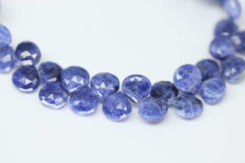 Sodalite Faceted Heart Drop Beads, 4 inches, 8mm, SKU10376/M - Jewels Exports - 1