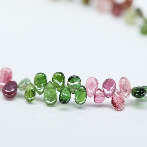 Watermelon Tourmaline Smooth Pear Drop Beads, 4 inches, 4mm, SKU10439/J - Jewels Exports - 1