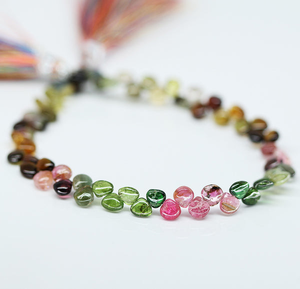 Watermelon Tourmaline Smooth Heart Beads, 4 inches, 4-5mm, SKU10371/J - Jewels Exports