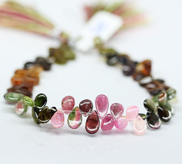 Watermelon Tourmaline Smooth Pear Drop, 4 inches, 8-10mm, SKU10327M - Jewels Exports