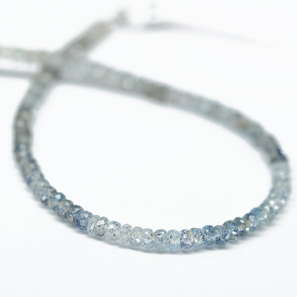 Blue Sunstone Faceted Rondelle Beads, 4 inches, 3.5mm, SKU10429/M - Jewels Exports - 1