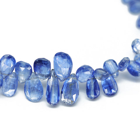 Royal Kyanite Faceted Pear Drop Beads, 4 inches, 7-8mm, SKU10406/M - Jewels Exports - 1