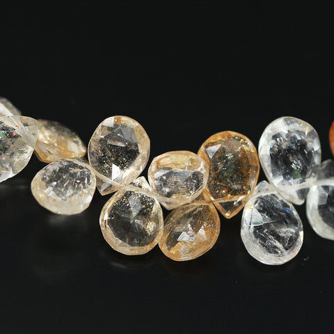 Shaded Sunstone Pear Drop Beads, 4 inches, 8-9mm, SKU10427/M - Jewels Exports - 1