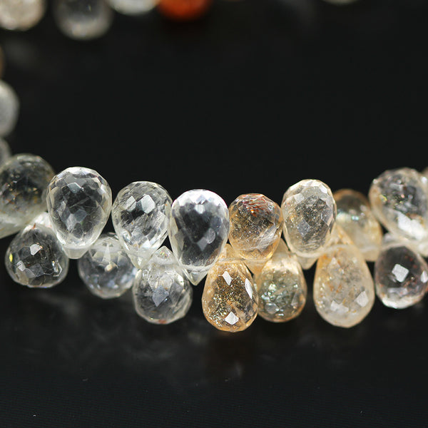 Sunstone Shaded Faceted Tear Drop Briolette Beads, 4 inches, 8-9mm, SKU10411/M - Jewels Exports - 1