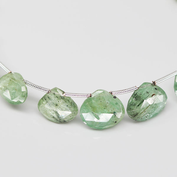 Green Kyanite Faceted Heart Beads, 4 inches, 8-12mm, SKU10399/M - Jewels Exports - 1