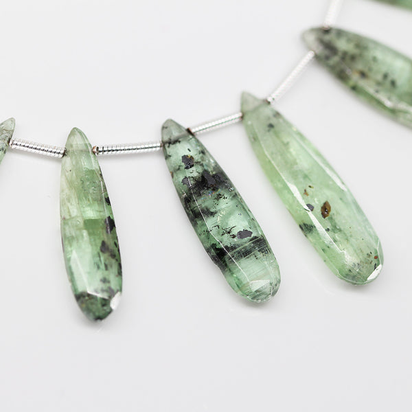 Green Kyanite Faceted Long Pear Drop Beads, 4 inches, 14-23mm, SKU10393/M - Jewels Exports - 1