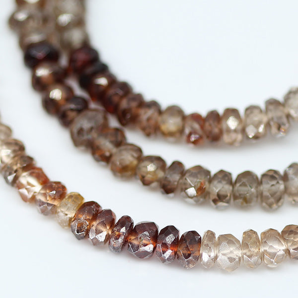 Brown Zircon Faceted Rondelle Beads ,4 inches, 3-4mm, SKU10630 - Jewels Exports - 1