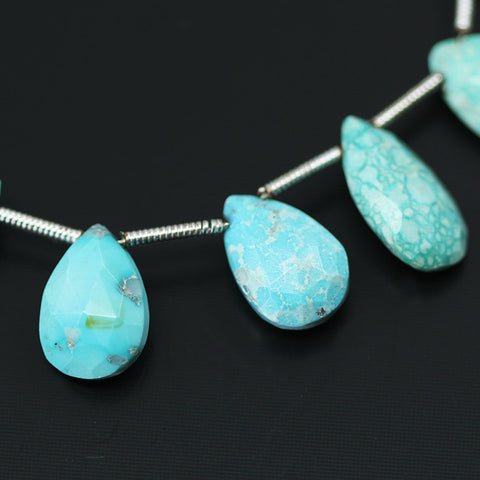 Arizona Turquoise Faceted Pear Drop Beads, 4 inches, 10-12mm, SKU10512/J - Jewels Exports - 1
