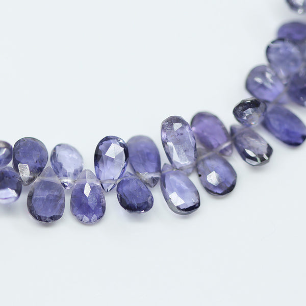 Iolite Faceted Pear Drop Beads, 6-8mm, 4-inches, SKU10474/M - Jewels Exports - 1