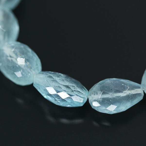 Aquamarine Faceted Tumble Beads, 4 inches, 12 to 15 mm  SKU 10594 - Jewels Exports - 1