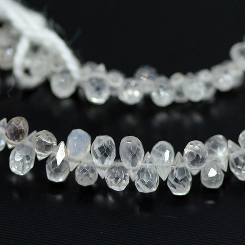 White Zircon Faceted Tear Drop Briolette Beads Strand, 8 inches, 3-4mm, SKU10531/M - Jewels Exports - 2