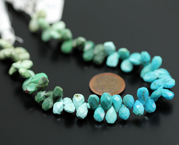 Himalayan Shaded Turquoise Faceted Pear Drop Beads, 4 inches, 9mm, SKU10458/J - Jewels Exports