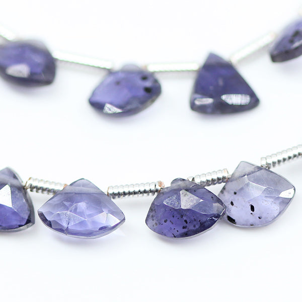 Iolite Faceted Fancy Fan Shape Drop Beads, 4 inches, 6mm, SKU10605 - Jewels Exports - 1
