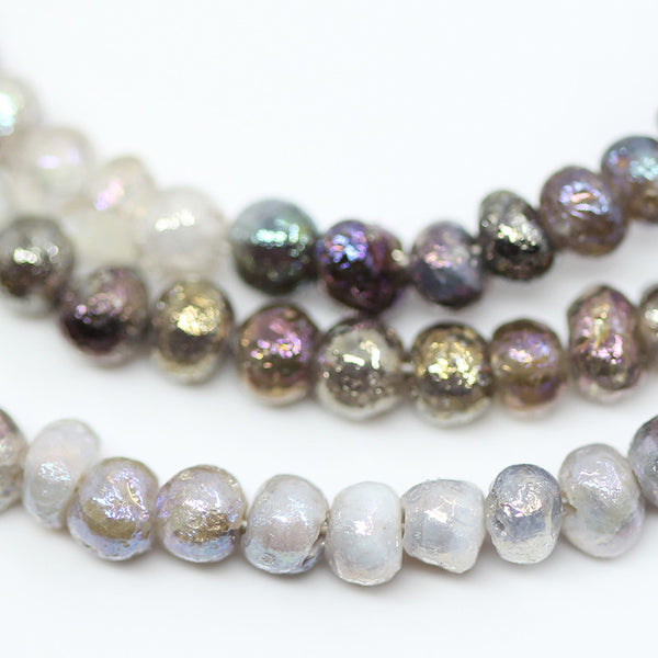 Multi Quartz Coated Smooth Rondelle Beads, 16 inches, 3mm, SKU10525/J - Jewels Exports - 1