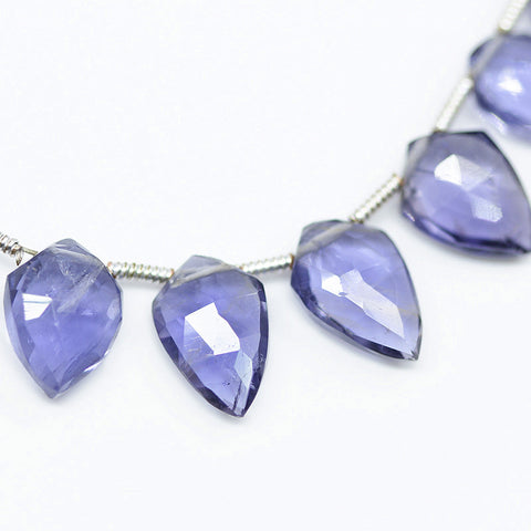 Blue Iolite Faceted Fancy Shield Drop Beads, 4 inches, 7-11mm, SKU10517M - Jewels Exports - 1
