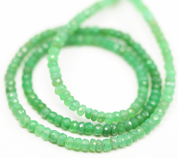 Apple Green Chrysoprase Faceted Rondelle Beads, 13 inches, 3mm, SKU10473/M - Jewels Exports - 1