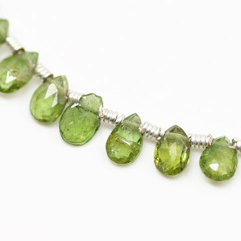 Chrome Green Tourmaline Faceted Pear Drop Beads, 4 inches, 4-5mm, SKU10510/J - Jewels Exports - 1