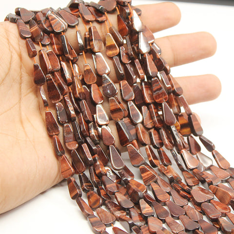 5 Strand Red Tiger Eye Flat Pear Drop Beads Strand, 11-13mm, 13 inches, SKU/MOD - Jewels Exports