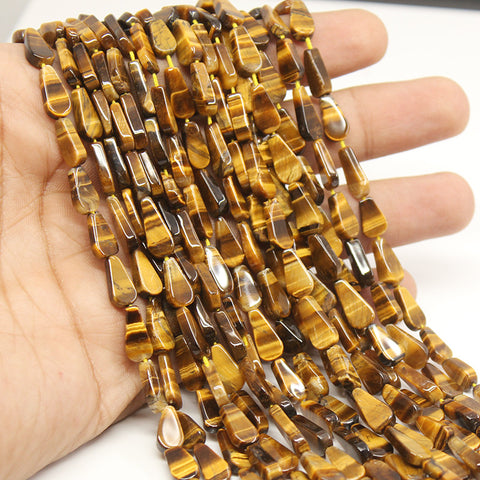 50 Strand AAA Tigers Eye Flat Pear Drop Beads Strand, 9-10mm, 13 inches, SKU/MOD - Jewels Exports