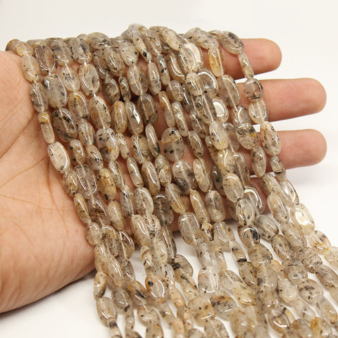 10 Strands Moss Quartz Smooth Oval Beads Strand,11-13mm, 13 inches, SKU/MOD - Jewels Exports