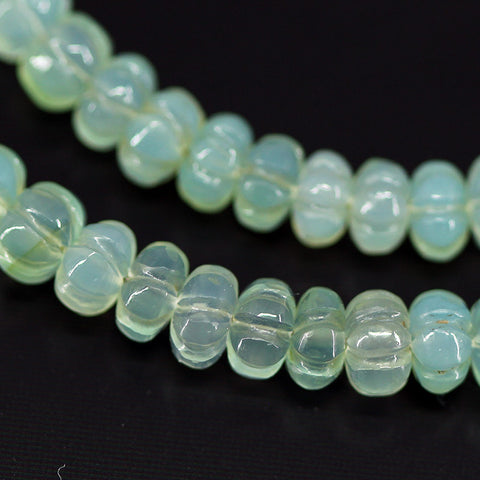 Australian Chrysoprase Carved Pumpkin Beads, 4 inches, 5mm, SKU10645 - Jewels Exports - 1