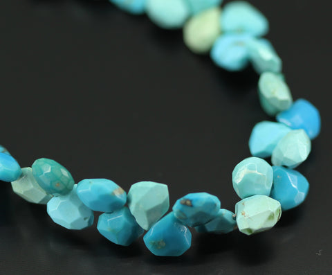 Turquoise Faceted Pear Drop Beads, 4 inches, 6-7 mm, SKU 10682 - Jewels Exports - 1