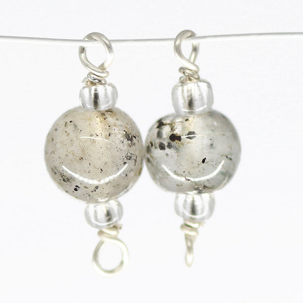 Moss Quartz Smooth Polished Oval Beads Sterling Silver loop Connector, 2 pc SKU/E - Jewels Exports - 1