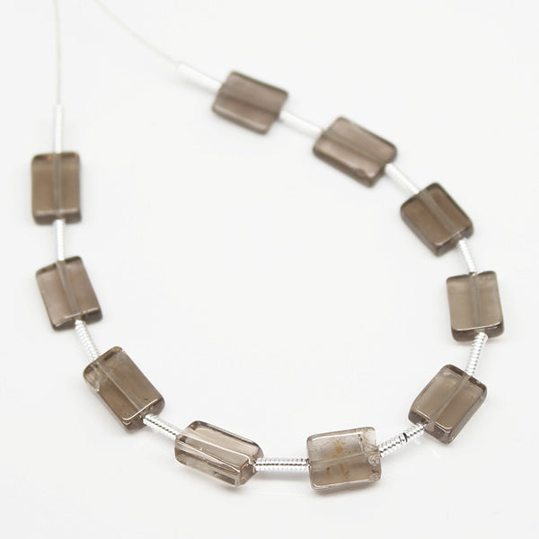 Smoky Quartz Smooth Rectangle Beads, 10 Beads, 7mm, SKU/S - Jewels Exports - 1