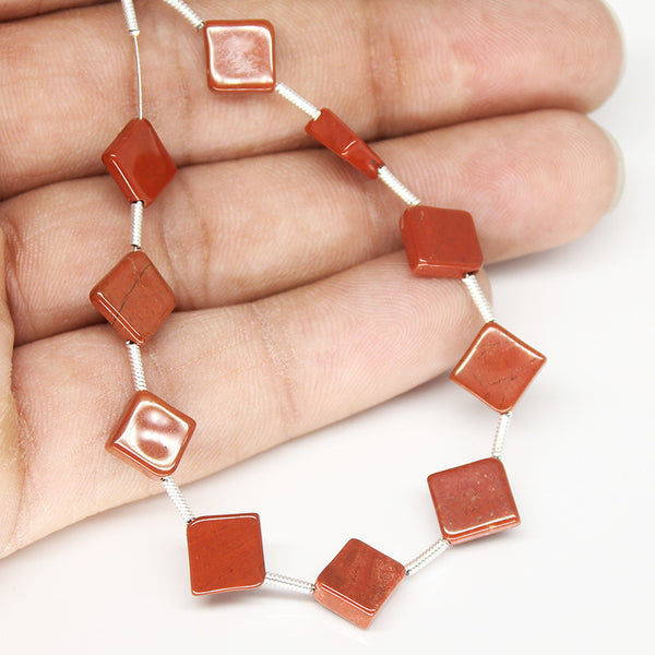 Red Jasper Smooth Cushion Beads, 10 Beads, SKU/N - Jewels Exports - 1