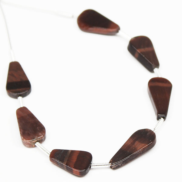 Red Tiger Eye Trillion Beads Sterling Silver ,7 Bead, SKU/N - Jewels Exports - 1