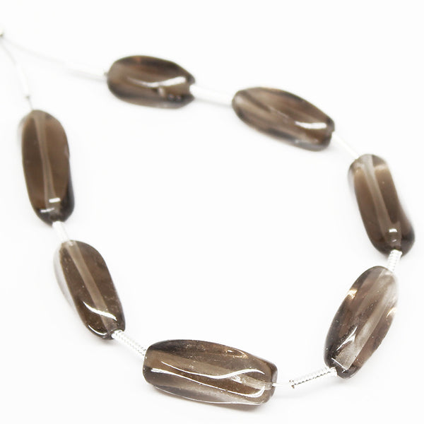 Smoky Quartz Twisted Tube Beads, SKU/N - Jewels Exports - 1