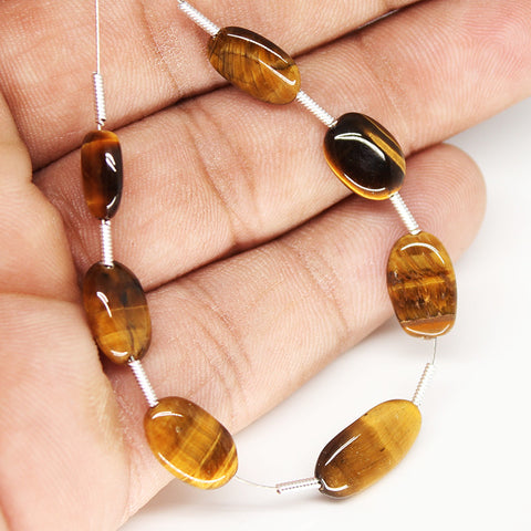 Tiger Eye Smooth Oval Beads, SKU/N - Jewels Exports - 1