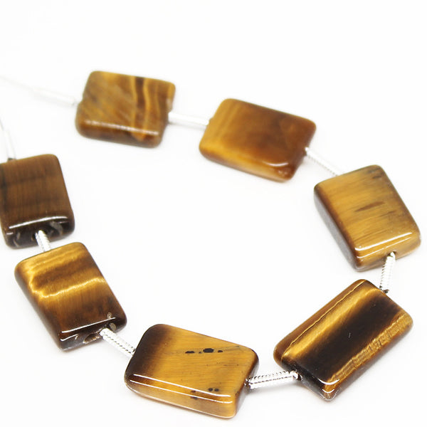 Tiger Eye Smooth Rectangle Beads, 7 beads, 13mm, SKU/N - Jewels Exports - 1